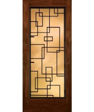 Grille Door Collection Full Glass Mahogany Fiberglass Exterior Door (A5037)