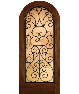 Grille Door Collection Full Glass Radius Top Mahogany Fiberglass Exterior Door (A5037)