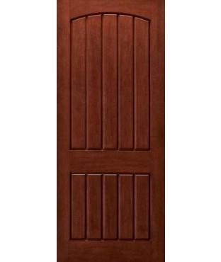 Architectural Plank 2 Panel Fiberglass Mahogany Exterior Door (AP-24)