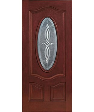 Classic-Craft 3 Panel Fiberglass Mahogany Exterior Door (CCM703)
