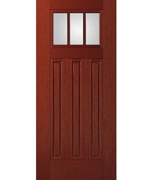 Fiber-Classic 3 Panel Fiberglass Mahogany Exterior Door (FIM606)