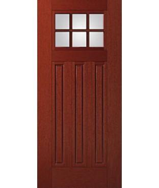 Fiber-Classic 3 Panel Fiberglass Mahogany Exterior Door (FIM608)