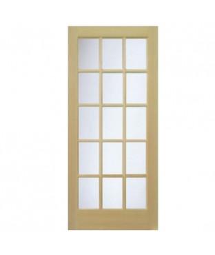L 1515 1 panel 15 lite pine french door for 15 panel interior door