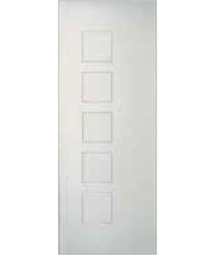 5 Square Vertical Grooves Primed Smooth Door (SB500)