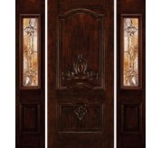 Mahogany woodgrain panel door with carving and 2 sidelights