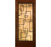 Grille Door Collection Full Glass Mahogany Fiberglass Exterior Door (A5037)