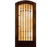 Grille Door Collection Full Glass Segment Top Mahogany Fiberglass Exterior Door (A5037)