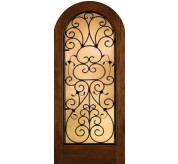 Grille Door Collection Full Glass Radius Top Mahogany Fiberglass Exterior Door (A5037)