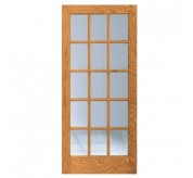 OA-1515 1 Panel 15 Lite Oak French Door