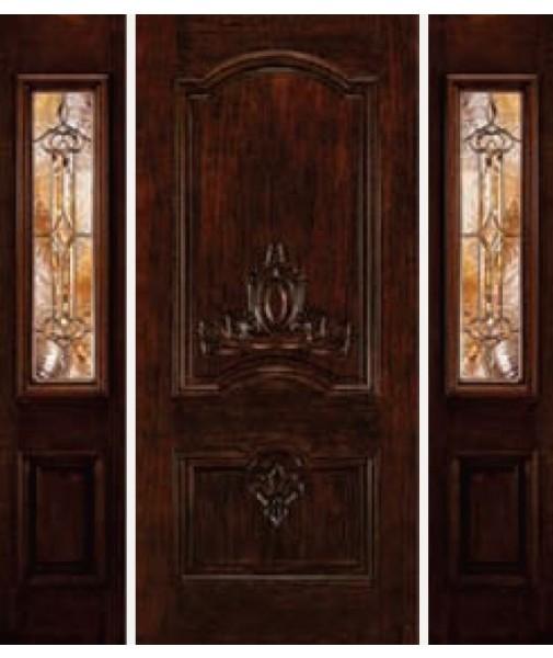 Classic Collection 2 Panel Fiberglass Wood Mahogany Exterior Door